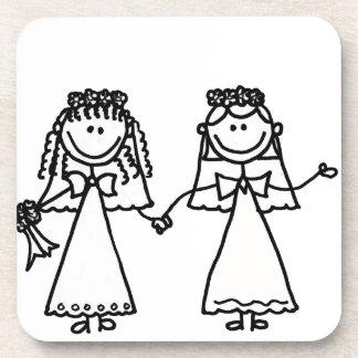 Funny Brides Gay Marriage Cartoon Beverage Coaster