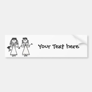 Funny Brides Gay Marriage Cartoon Bumper Sticker