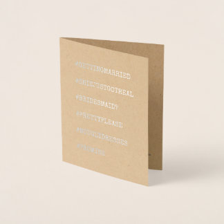 Funny Bridesmaid or Maid of Honor Foil Card