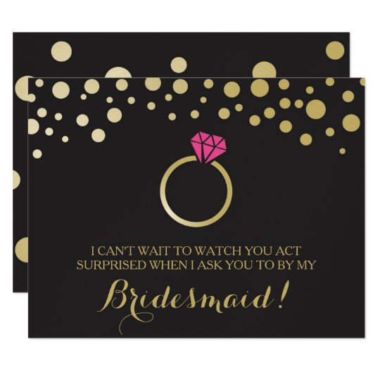 Funny Bridesmaid Proposal Card Black Faux Gold