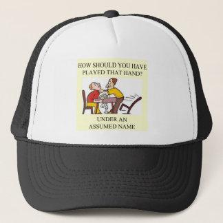 funny bridge player joke design trucker hat