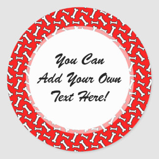 Funny Bright Red Dog Bone Pattern for Dog Lovers Classic Round Sticker