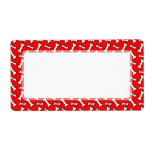 Funny Bright Red Dog Bone Pattern for Dog Lovers Shipping Label