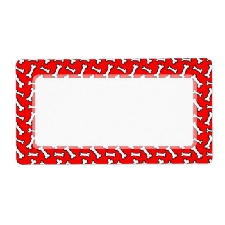 Funny Bright Red Dog Bone Pattern for Dog Lovers Label