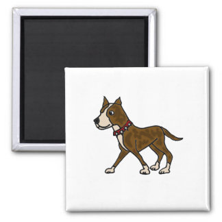 Funny Brindle Pitbull Dog 2 Inch Square Magnet