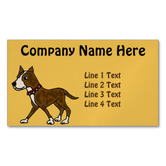 Funny Brindle Pitbull Dog Art Magnetic Business Cards (Pack Of 25)