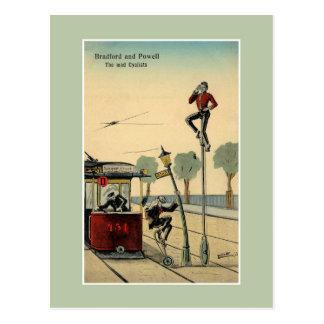 Funny British 1913 bicycle acrobats advertising Postcard