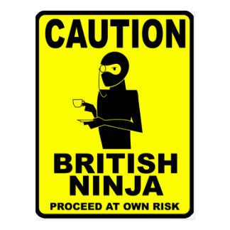 Funny  British Ninja Postcard