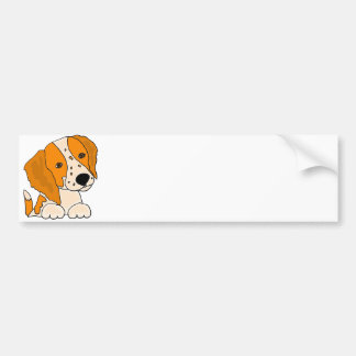 Funny Brittany Spaniel Puppy Dog Art Bumper Sticker