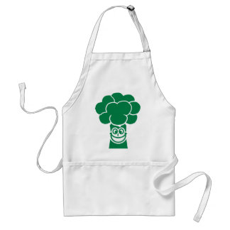 Funny broccoli face adult apron