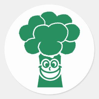 Funny broccoli face classic round sticker