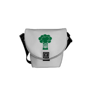 Funny broccoli face courier bags