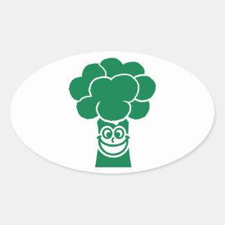 Funny broccoli face oval sticker