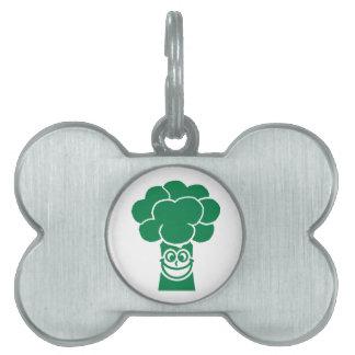Funny broccoli face pet name tag