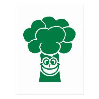 Funny broccoli face postcard
