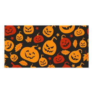 Funny Brown and Orange Halloween Pumpkins Pattern Card