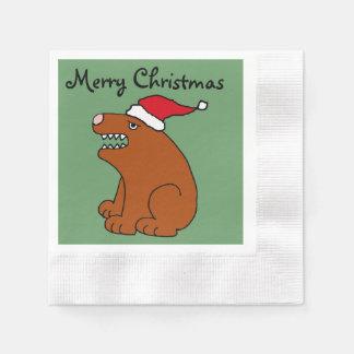 Funny Brown Bear Christmas Art Napkin