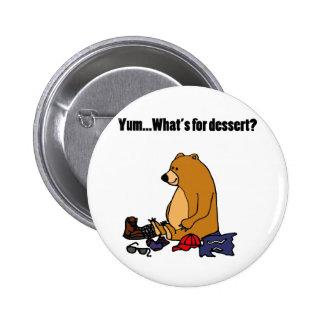 Funny Brown Bear Eating Hiker Cartoon Button