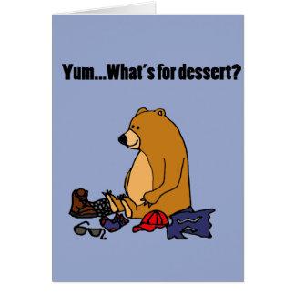 Funny Brown Bear Eating Hiker Cartoon Card