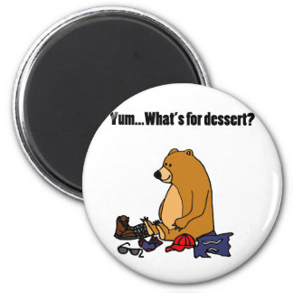 Funny Brown Bear Eating Hiker Cartoon Magnet