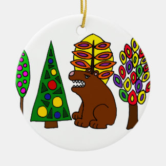 Funny Brown Bear in the Woods Art Ceramic Ornament