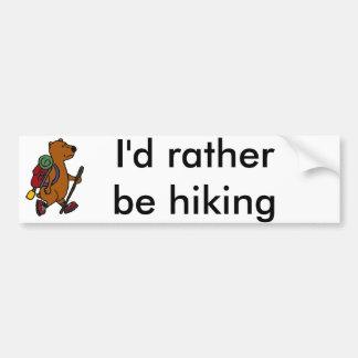 Funny Brown Bear is Hiking Bumper Sticker