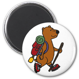 Funny Brown Bear is Hiking Magnet