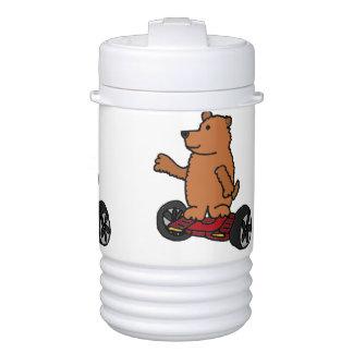 Funny Brown Bear on Motorized Skateboard Beverage Cooler