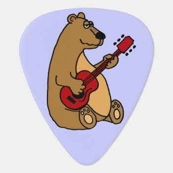 Funny Brown Bear Playing Guitar Guitar Pick by inspirationrocks at Zazzle