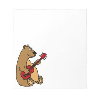 Funny Brown Bear Playing Guitar Notepad