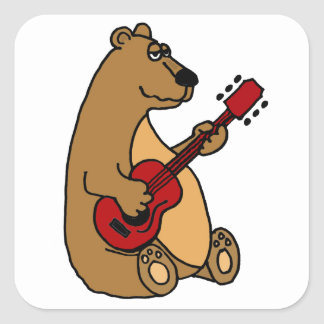 Funny Brown Bear Playing Red Guitar Sticker