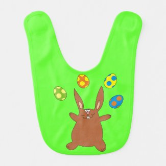 Funny Brown Bunny Juggling Easter Eggs Baby Bib