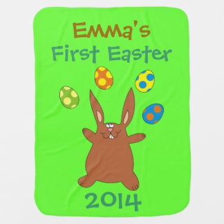 Funny Brown Bunny Juggling Easter Eggs Blanket
