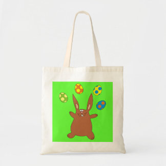 Funny Brown Bunny Juggling Easter Eggs Kids Bag