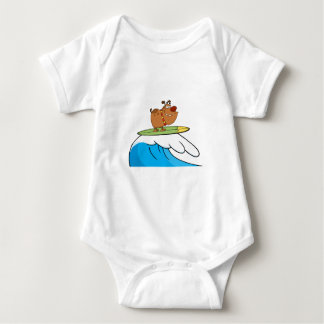 FUNNY BROWN CARTOON DOG SURFING WAVES LAUGHS FUNNY BABY BODYSUIT