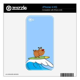 FUNNY BROWN CARTOON DOG SURFING WAVES LAUGHS FUNNY DECALS FOR THE iPhone 4S
