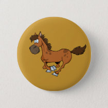 FUNNY BROWN CARTOON HORSE RUNNING GALLOPING BUTTON