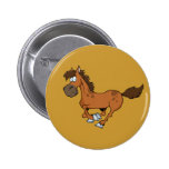 FUNNY BROWN CARTOON HORSE RUNNING GALLOPING 2 INCH ROUND BUTTON