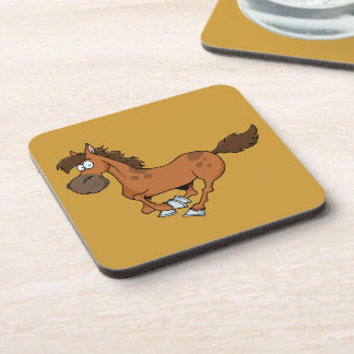 FUNNY BROWN CARTOON HORSE RUNNING GALLOPING DRINK COASTER