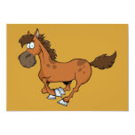 "FUNNY BROWN CARTOON HORSE RUNNING GALLOPING 5"" X 7"" INVITATION CARD"