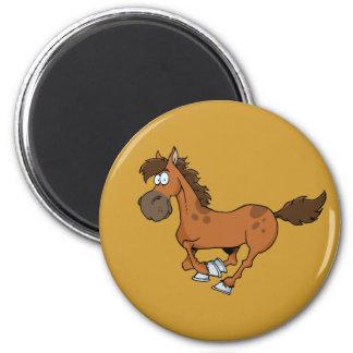 FUNNY BROWN CARTOON HORSE RUNNING GALLOPING MAGNET