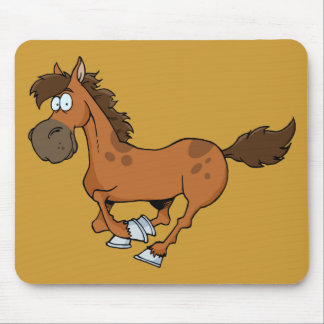FUNNY BROWN CARTOON HORSE RUNNING GALLOPING MOUSE PADS