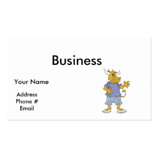 funny brown cow in clothes business card