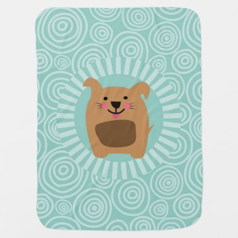 Funny Brown Dog - Cute Puppy Turquoise Baby Blanket