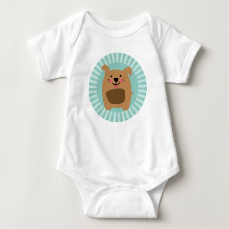 Funny Brown Dog - Cute Puppy Turquoise Baby Bodysuit