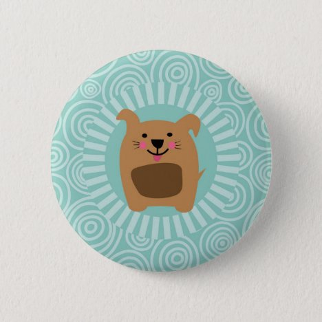 Funny Brown Dog - Cute Puppy Turquoise Button