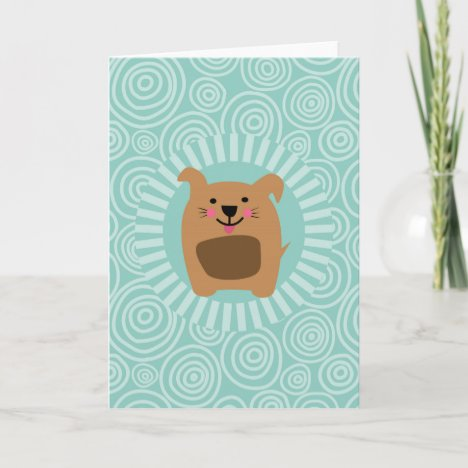Funny Brown Dog - Cute Puppy Turquoise Card