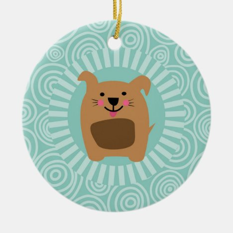 Funny Brown Dog - Cute Puppy Turquoise Ceramic Ornament