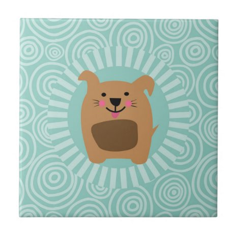 Funny Brown Dog - Cute Puppy Turquoise Ceramic Tile