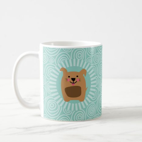 Funny Brown Dog - Cute Puppy Turquoise Coffee Mug